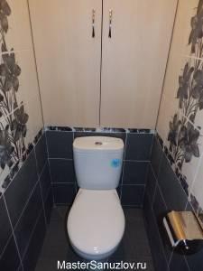 Интересный черно-белый дизайн туалета