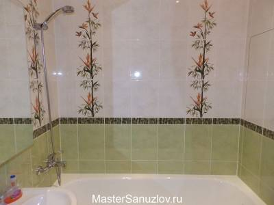 Плитка с изображением бамбука в ванной