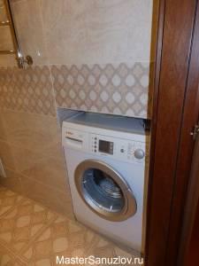 Ниша для стиральной машины в интерьере ванной