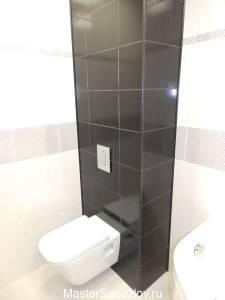 Туалет в жемчужно-угольном дизайне