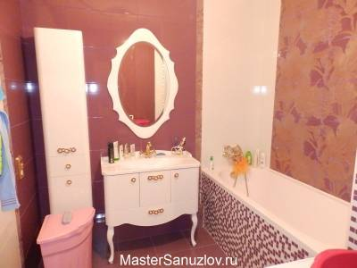 Дизайн ваной комнаты в лиловом цвете