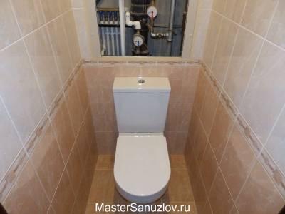 Минималистичный бежевый дизайн туалета