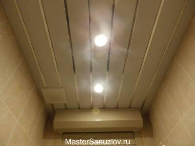 Оформление потолка в санузле