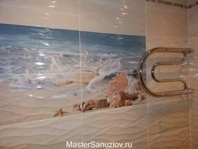 Рельефная керамическая плитка в дизайне ванной комнаты
