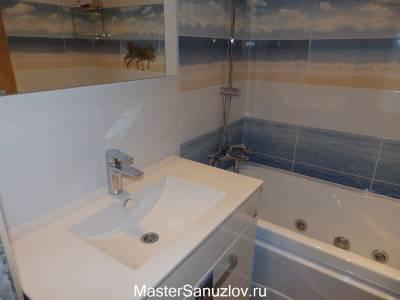 Фотоплитка в ванной комнате с пляжной тематикой