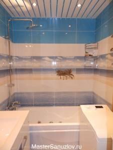 Фотоплитка в ванной с пляжной тематикой