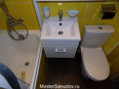 Квадратная раковина в дизайнем ванной