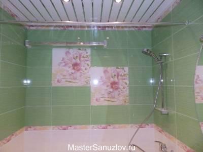 Фотоплитка с цветами в ванной комнате