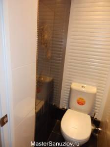 Дизайн маленького туалета с применением фотоплитки