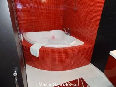 Оранжевая плитка в дизайне ванной комнаты