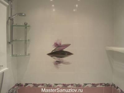 Фотоплитка с изображением кувшинки для ванной