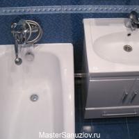 Ремонт ванной в синем цвете